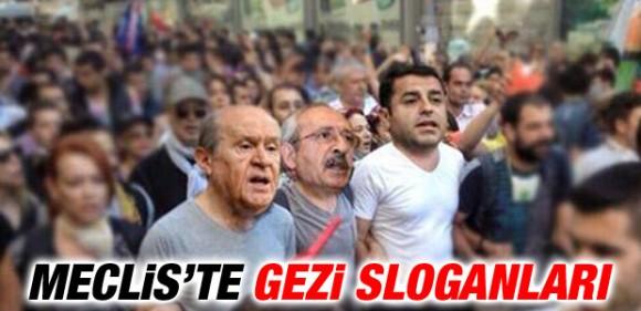 TBMM'de Gezi sloganları, oturma eylemi, sıra kapaklarına vurmalar